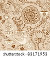 Retro coffee seamless pattern, tea background, texture with cups,drink and flowers. - stock vector
