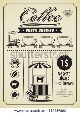 retro coffee theme banner - stock vector
