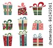 Retro Collection of Gift Boxes. - stock vector