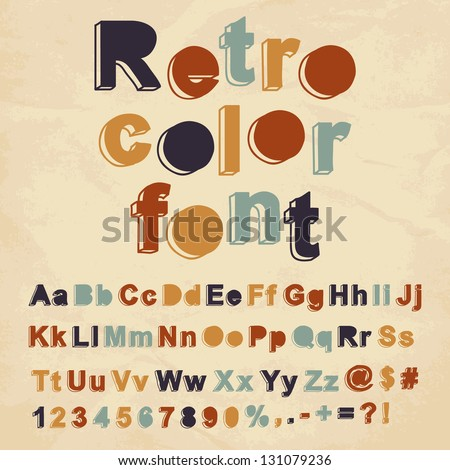 Retro color font. Vector illustration. - stock vector