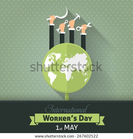 Retro Color 1 May Worker's Day Poster Flyer - stock vector