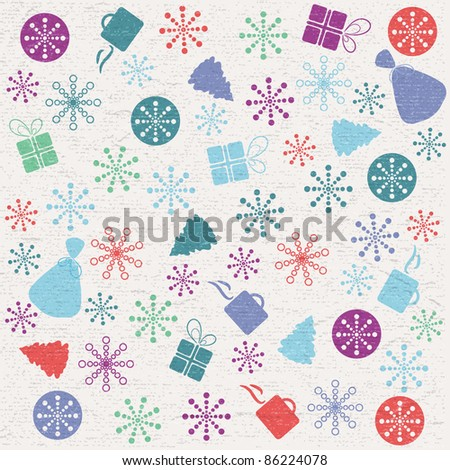 Retro color New Year background made with different elements - stock vector