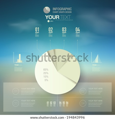 Retro color percentage diagram design with blue sky background  can be used for workflow layout, diagram, chart, pie, number options, presentation, web design. Eps 10 stock vector illustration - stock vector