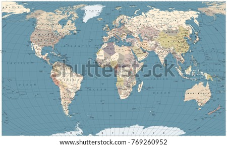 Retro Color World Map - borders, countries, roads and cities. Detailed World Map vector illustration.