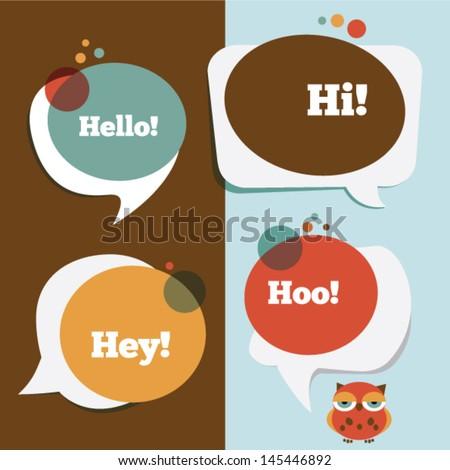 Retro colored speech bubbles and a funny owl - stock vector