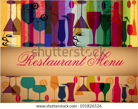 Retro colorful menu card design for party or other occasions. EPS 10. Vector illustration. - stock vector