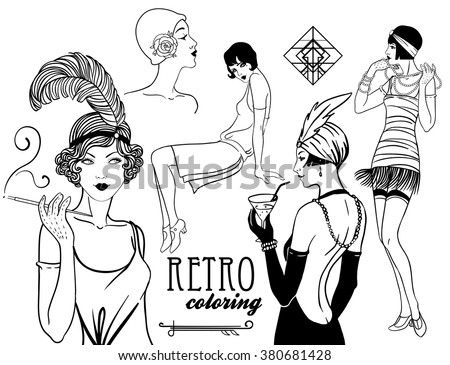 1920s coloring pages for kids | Retro Coloring Book Kids Adults Retro Stock Vector ...