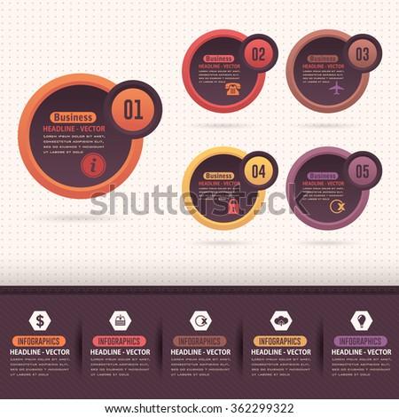 Retro Colors Ellipse Elements Infographics Design, Vector Numbers Banner Template - stock vector