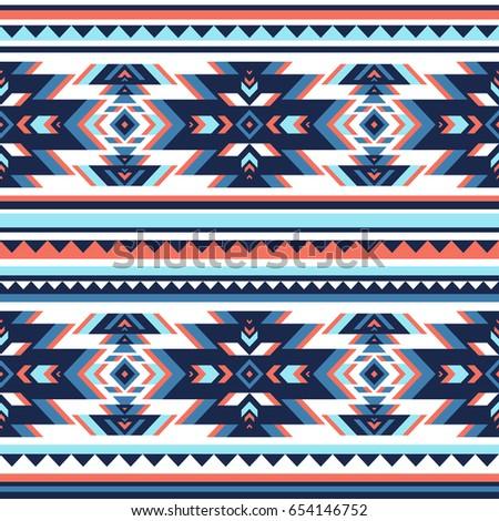 Retro Colors Tribal Vector Seamless Navajo Stock Vector 654146752 ...