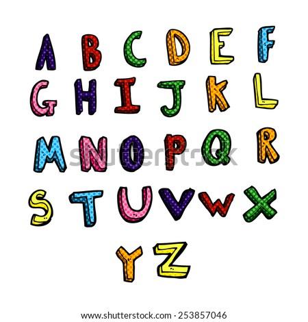 retro comic book style cartoon alphabet - stock vector