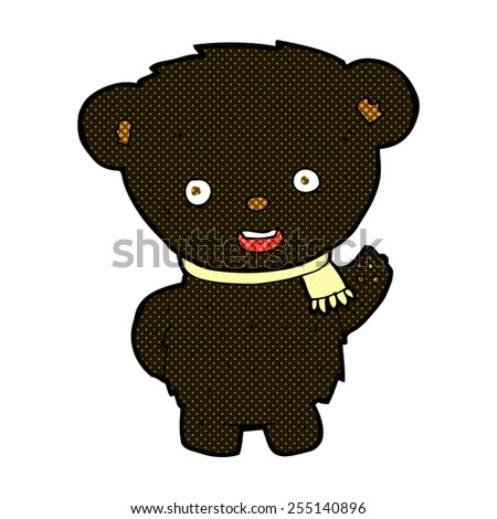retro comic book style cartoon black bear waving