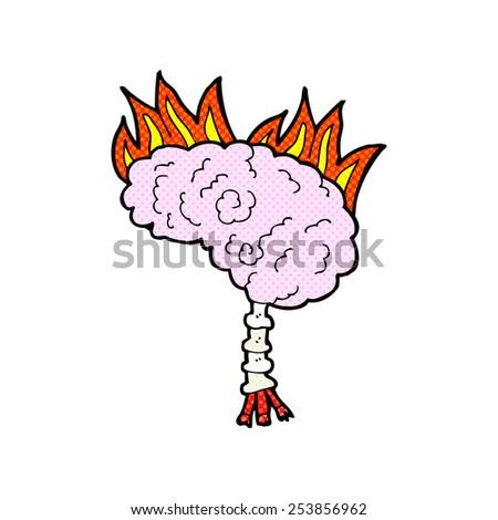 retro comic book style cartoon brain - stock vector