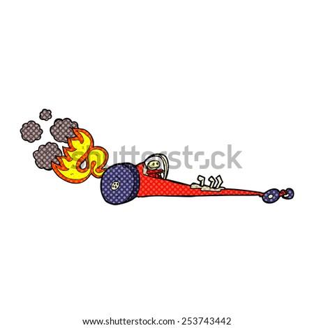 retro comic book style cartoon drag racer - stock vector