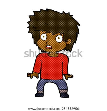 retro comic book style cartoon frightened boy - stock vector