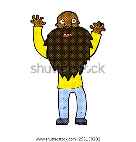 retro comic book style cartoon frightened old man with beard - stock vector