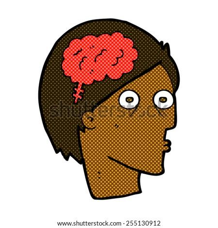 retro comic book style cartoon head with brain symbol - stock vector