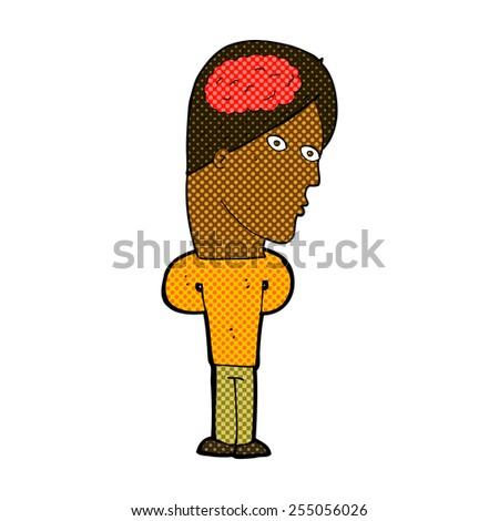retro comic book style cartoon man with big brain - stock vector
