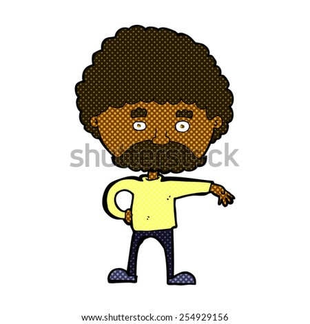 retro comic book style cartoon man with mustache making camp gesture - stock vector