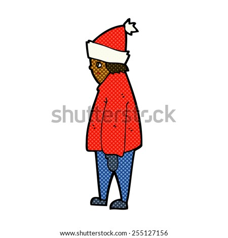 retro comic book style cartoon person in winter clothes - stock vector