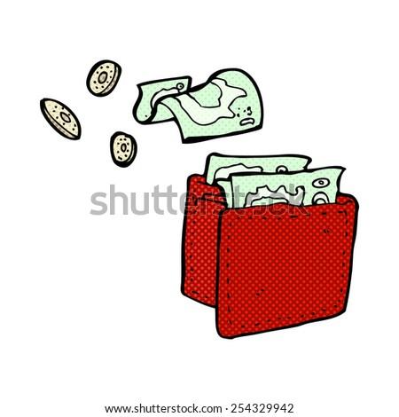 retro comic book style cartoon wallet spilling money - stock vector