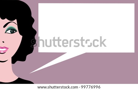 Retro comics woman with speech bubble - stock vector