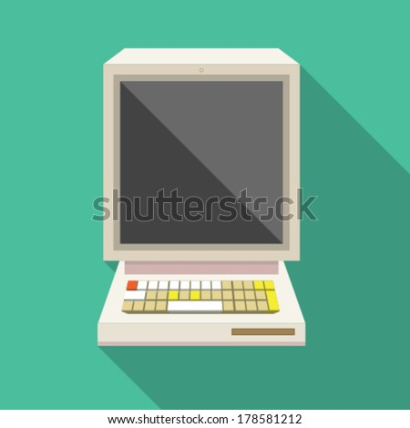 retro computer flat button with long shadow - stock vector
