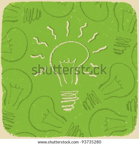 Retro conceptual background with idea symbol (lightbulb on/off). Vector, EPS10
