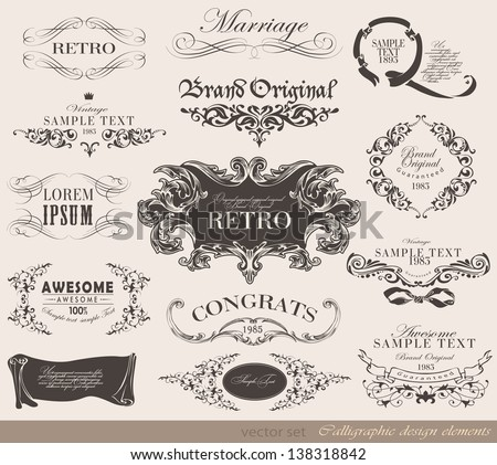 Retro congrats calligraphic design elements and page decoration/ vector set