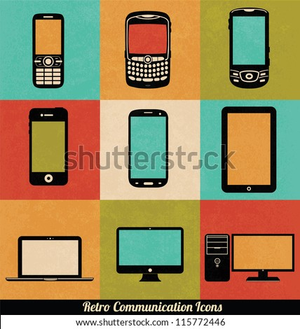 Retro Connection Icons - stock vector