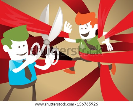 Retro Corporate Guy is Cut Free from Red Tape. Vector illustration of Retro Corporate Guy clearly very happy to be set free from the bureaucratic red tape that he's got caught up in. - stock vector