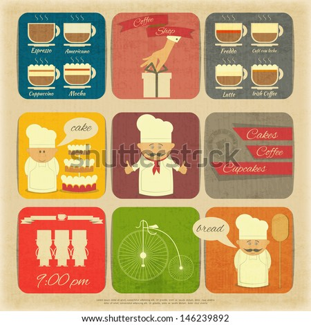 Retro Cover Menu for Cafe in Vintage Style with Types of Coffee Drinks and Graphics Icons. Vector Illustration.  - stock vector