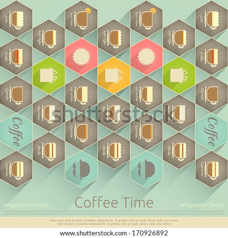 Retro Cover of Coffee Menu in Infographics Style. Vector illustration. - stock vector