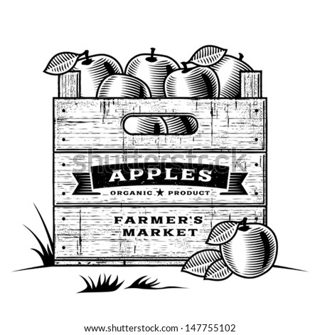 Retro crate of apples black and white. Editable vector illustration with clipping mask. - stock vector