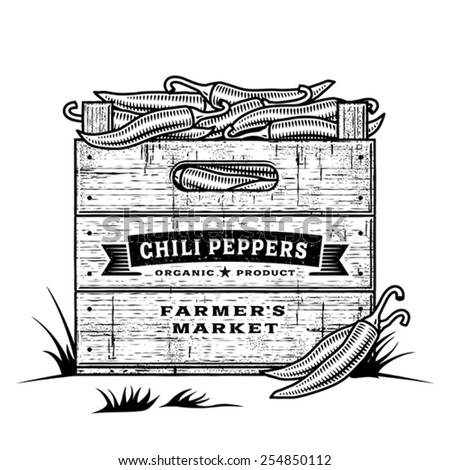 Retro crate of chili peppers black and white. Editable vector illustration with clipping mask.