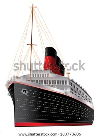 Retro cruise liner illustration on white background. - stock vector