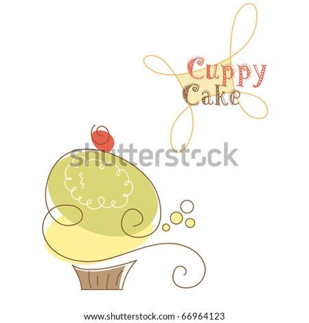 Retro cupcake, vector. - stock vector