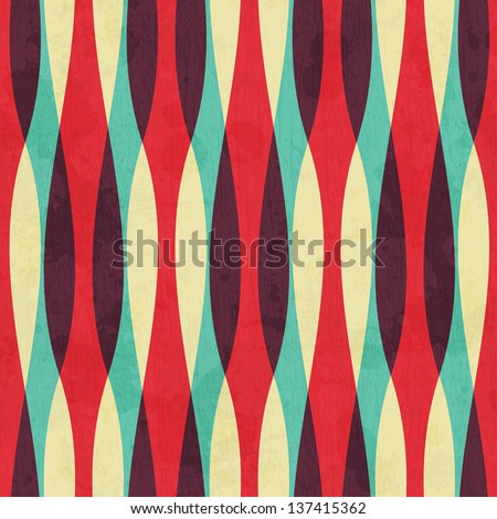 retro curves seamless pattern with grunge effect - stock vector