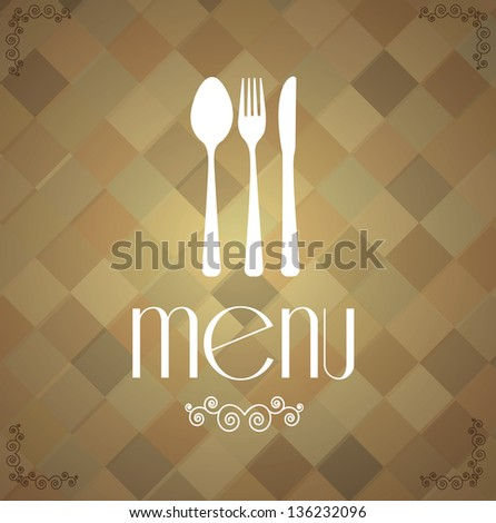 retro cutlery over vintage square background vector illustration - stock vector