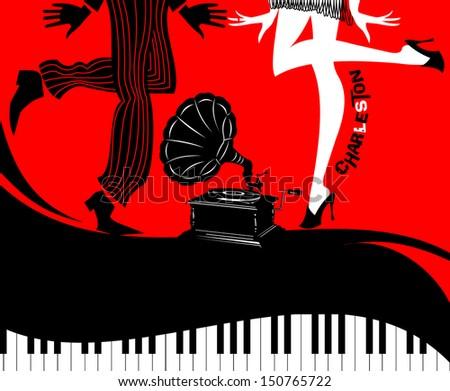 Retro Dancers On A Vinyl Record - Retro illustration - stock vector