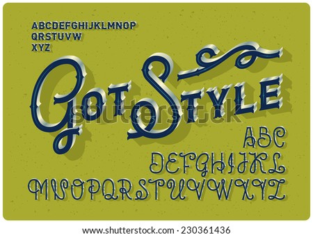 Retro decorative alphabet with small and capital letters - stock vector