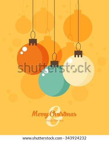 Retro decorative Christmas balls, vector Christmas card - stock vector