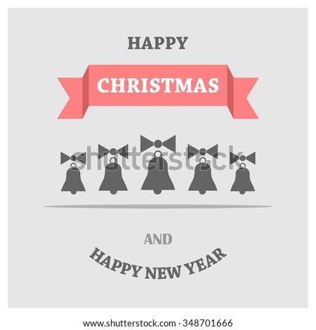 Retro decorative Christmas bells, Christmas New Year Flat card illustration