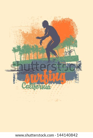 Retro design California surfing company for t-shirt print, with surfer, palms, hand-written fonts and textures. vector illustration. - stock vector