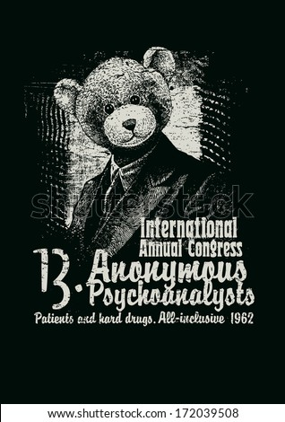 Retro design Congress Anonymous Psychoanalysts for poster or t-shirt print with man in a bear mask and textures. vector illustration. grunge effect in separate layer. black and white version.