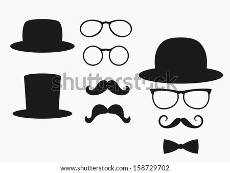 retro design elements, hats, mustaches and glasses - stock vector