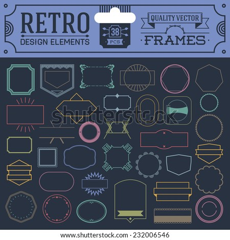 Retro design elements hipster style frames color set. High quality vector illustration. - stock vector