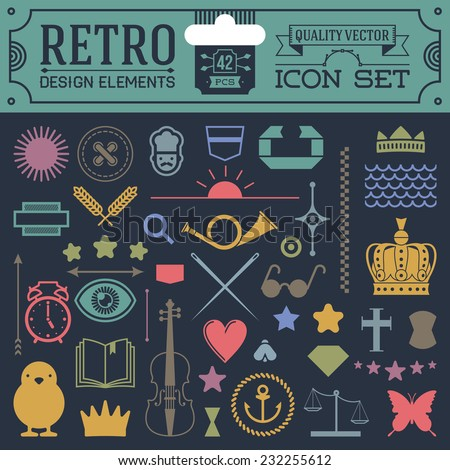 Retro design elements hipster style icon color set 2. High quality vector illustration. - stock vector