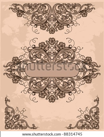 retro design elements on grunge background - stock vector