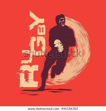Retro Design For T-shirt Print With Rugby Player And Grunge Fonts . Vector Illustration