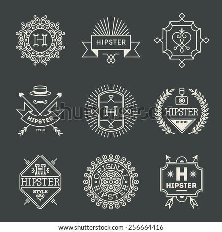 Retro design hipster insignias logotypes set 1. Vector vintage elements. - stock vector